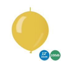 33 cm-es metál citromsárga bóbitás gumi lufi