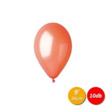 26 cm-es metál narancssárga gumi lufi 10 db/cs