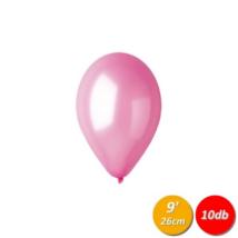 26 cm-es metál rózsaszín gumi lufi 10 db/cs