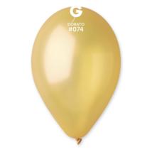 26 cm-es metál aranysárga gumi lufi 10 db/cs