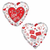 45 cm-es I Love you szív a szívben  fólia lufi