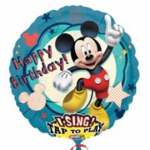 Sing-a-Tune-Zenélő Happy Birthday Mickey fólia lufi
