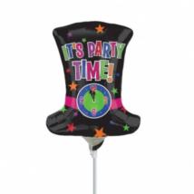 It's party time fekete kalap órával mini fólia lufi / Anagram