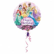 Sing-a-Tune-Zenélő Happy Birthday Hercegnők fólia lufi