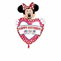 Happy Birthday Minnie Mouse egyediesíthető szuper fólia lufi / Anagram