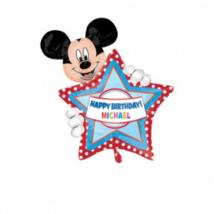 SuperShape -egyediesíthető Mickey Happy Birthday fólia lufi
