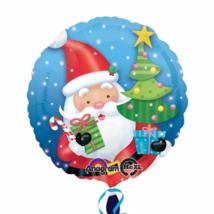 Mikulás karácsonyfával 45 cm-es csomagolt fólia lufi / Anagram
