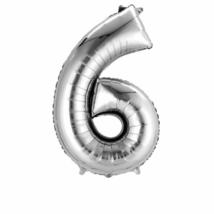 86 cm-es ezüst színű 6-os szám fólia lufi