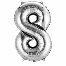 86 cm-es 8-as ezüst szám fólia lufi