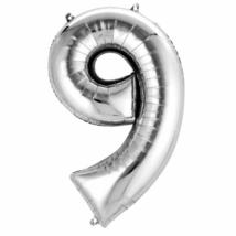 86 cm-es ezüst színű 9-es szám fólia lufi
