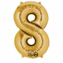 8-as arany szám fólia lufi 53 x 83 cm, csomagolt