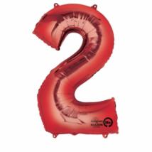2-es piros szám fólia lufi 50 x 88 cm, csomagolt
