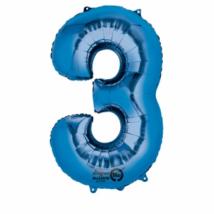 3-as kék szám fólia lufi 53 x 88 cm, csomagolt