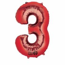 3-as piros szám fólia lufi 53 x 88 cm, csomagolt