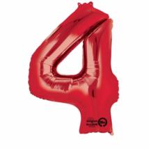 4-es piros szám fólia lufi 66 x 88 cm, csomagolt