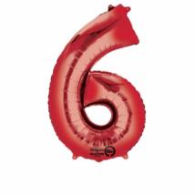 86 cm-es piros 6-os szám fólia lufi