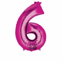 6-os pink szám fólia lufi 55 x 88 cm, csomagolt