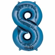 8-as kék szám fólia lufi 33 x 86 cm, csomagolt