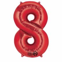 8-as piros szám fólia lufi 33 x 86 cm, csomagolt
