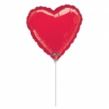 23 cm-es metál piros szív fólia lufi