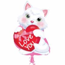45 cm-es Kitty Love You szívvel / Anagram csomagolt fólia lufi
