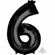 6-os fekete szám fólia lufi 55 x 86 cm, csomagolt