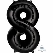 8-as fekete szám fólia lufi 53 x 86 cm, csomagolt