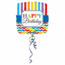 45 cm-es Happy Birthday csíkos fólia lufi
