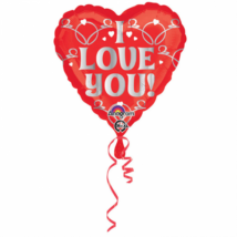 45 cm-es I Love You piros szív fólia lufi