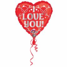 45 cm-es I Love You piros szív csomagolt fólia lufi / Anagram