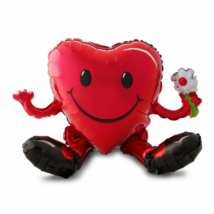 Super Ülő smiley piros szív multi fólia lufi