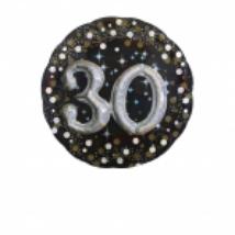 81 cm-es Happy Birthday 30. arany-ezüst  prizmás fólia lufi