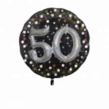 81 cm-es Happy Birthday 50. arany-ezüst  prizmás fólia lufi