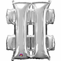27 cm-es ezüst # szimbólum fólia lufi
