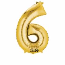 6-os arany szám fólia lufi 20 x 35 cm
