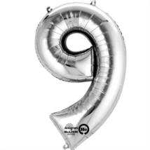 9-es ezüst szám fólia lufi 20 x 35 cm