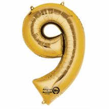 9-es arany szám fólia lufi 20 x 35 cm