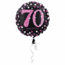 45 cm-es pink-fekete fólia lufi 70. születésnapra