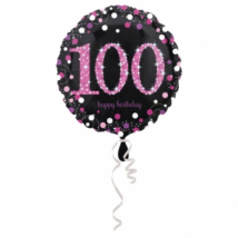 45 cm-es pink-fekete fólia lufi 100. születésnapra