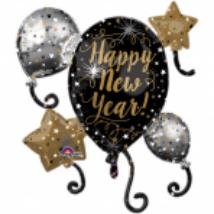 SuperShape -Happy New Year fólia lufi, 76 cm