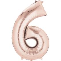 86 cm-es rose gold szám fólia lufi 6 / Anagram