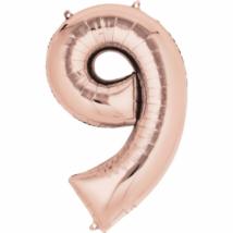86 cm-es rose gold szám fólia lufi 9 / Anagram