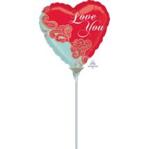 23 cm-es I love you rózsás fólia lufi