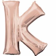 Super Rosegold K betű fólia lufi