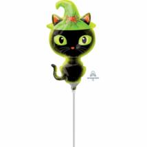 Mini - Fekete macska kalapban fólia lufi
