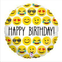 23 cm-es Emoji Happy Birthday! feliratos fólia lufi
