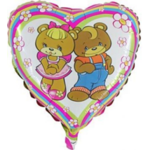 45 cm-es Két mackó, szív alakú fólia lufi