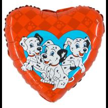 45 cm-es Dalmata piros szív alakú fólia lufi
