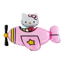 Mini Helló Kitty pink repülővel fólia lufi