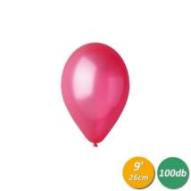 26 cm-es metál világos piros gumi lufi 100 db/cs
